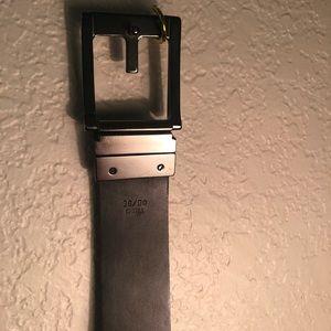 Access Black Leather Men's belt 36 silver buckle